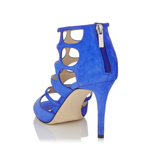 Women's Blue Hollow-out Peep Toe Stiletto Heels Formal Shoes image 2