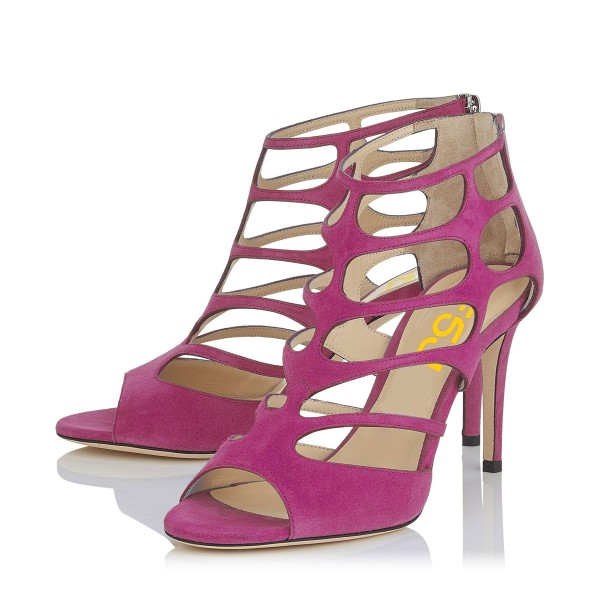 Magenta Suede Vegan Shoes Peep Toe Stiletto Heel Cage Sandals image 1