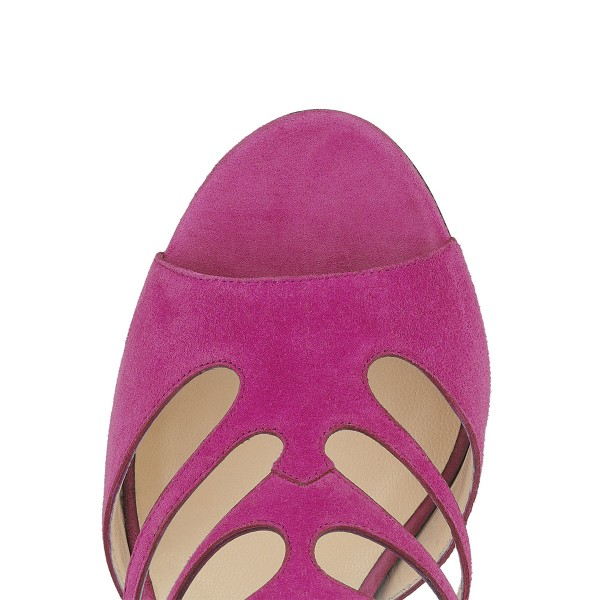 Magenta Suede Vegan Shoes Peep Toe Stiletto Heel Cage Sandals image 3