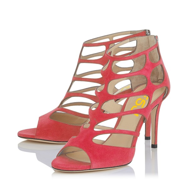 Hot Pink Peep Toe Heels Suede Cage Sandals Stiletto Heels image 1