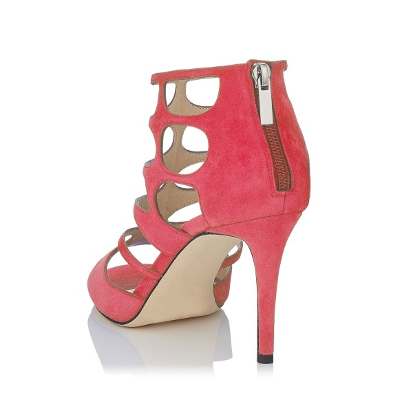 Hot Pink Peep Toe Heels Suede Cage Sandals Stiletto Heels image 2