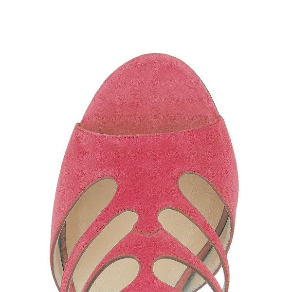 Hot Pink Peep Toe Heels Suede Cage Sandals Stiletto Heels image 3
