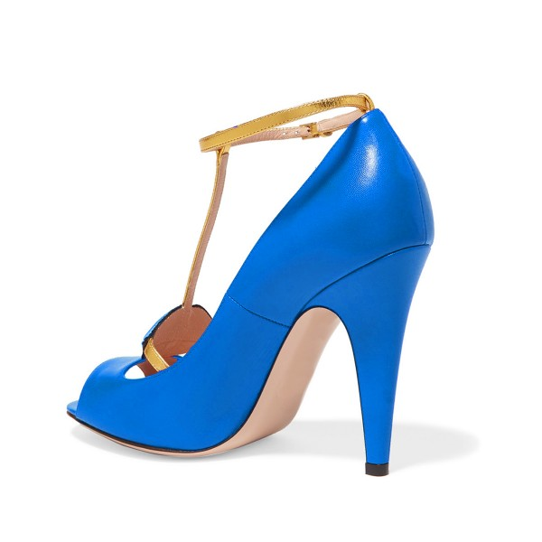 Women's Blue Embroidery Formal Cone Heel T-Strap Shoes image 2