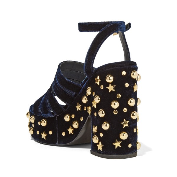 Women's Navy and Black Rivets Chunky Heels Ankle Strap Sandals image 2