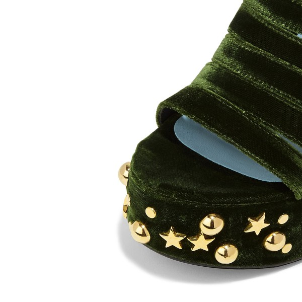 Women's Green and Black Rivets Chunky Heels Ankle Strap Sandals image 3