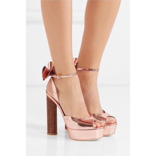 Rose Gold Shoes Metallic Rhinestone Bow Block Heel Prom Sandals image 6