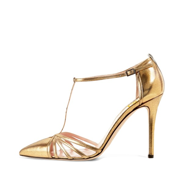 Women's Golden Pointy Toe Formal T-Strap Stiletto Heels Pumps Sandals image 1