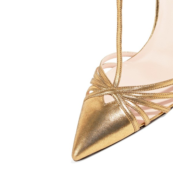 Women's Golden Pointy Toe Formal T-Strap Stiletto Heels Pumps Sandals image 3