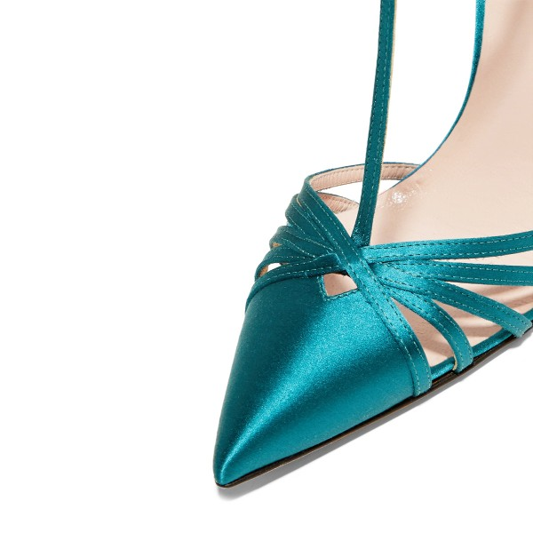 Women's Blue Pointy Toe Formal Pencil Heel Pumps  T-Strap Sandals  image 3