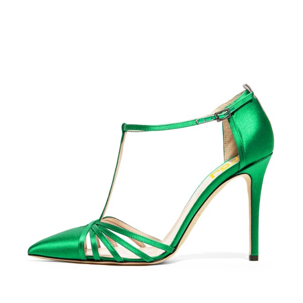 Green T-strap Sandals Satin Pointy Toe Stiletto Heel Formal Shoes image 1