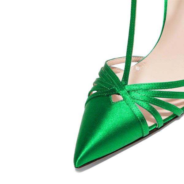 Green T-strap Sandals Satin Pointy Toe Stiletto Heels Dress Shoes image 2