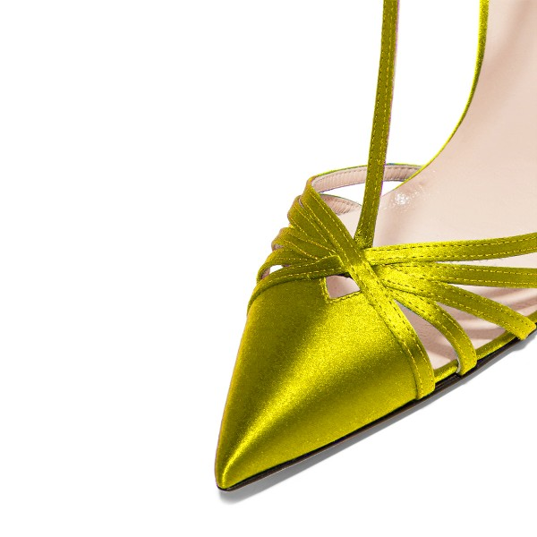 Lime T Strap Sandals Satin Pointy Toe Stiletto Heel Sandals image 3