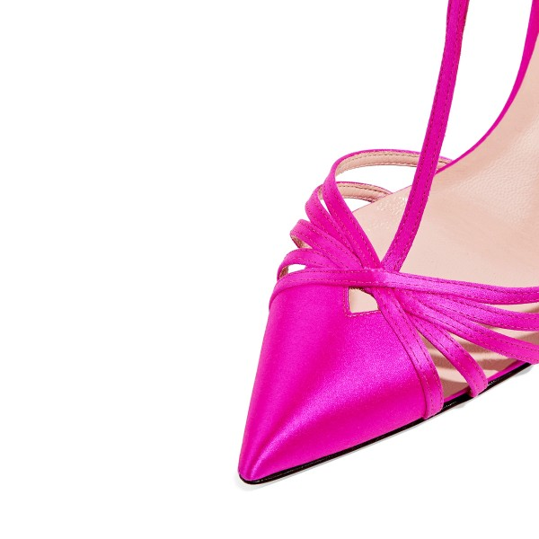 Hot Pink T Strap Sandals Satin Closed Toe Stiletto Heels image 3