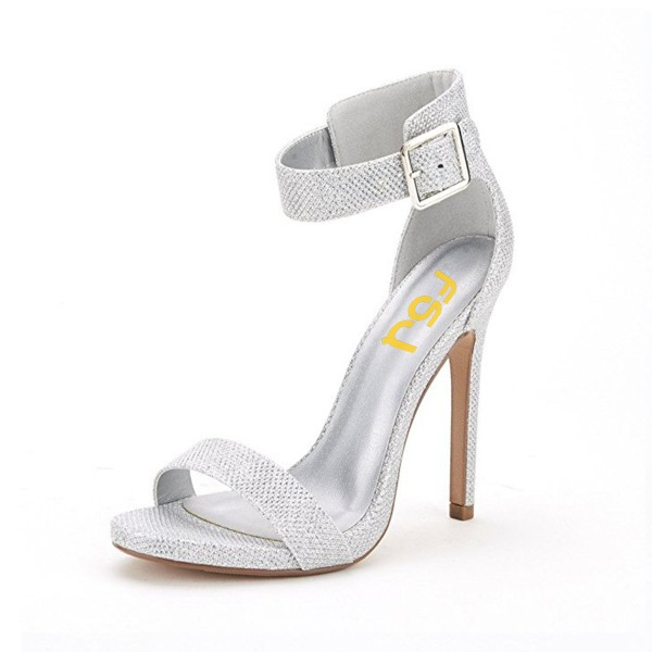 Silver Ankle Strap Sandals Open Toe Stiletto Heel Shoes by FSJ image 1
