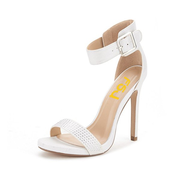 White Ankle Strap Sandals Rhinestone Stiletto Heel Open Toe Sandals image 1