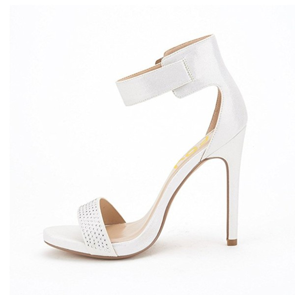 White Ankle Strap Sandals Sequined Open Toe Stiletto Heels image 3
