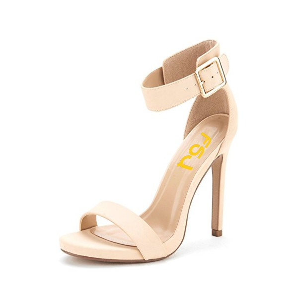 Women's Beige Ankle Strap Sandals New Arrival Open Toe Office Heels image 1