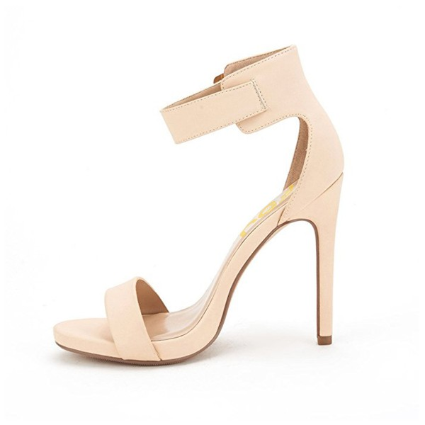 Women's Beige Ankle Strap Sandals New Arrival Open Toe Office Heels image 2