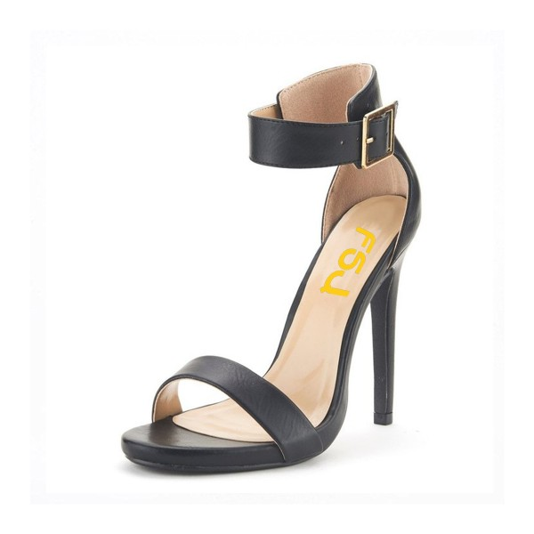 Black Ankle Strap Sandals Open Toe Office Heels image 1