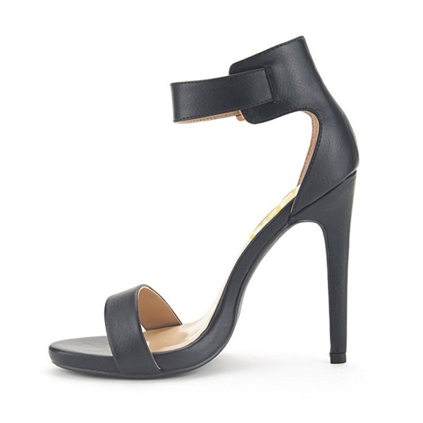 Black Ankle Strap Sandals Open Toe Office Heels image 2