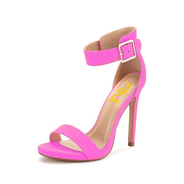 On Sale Fuchsia Ankle Strap Sandals Open Toe Stiletto Heels image 1