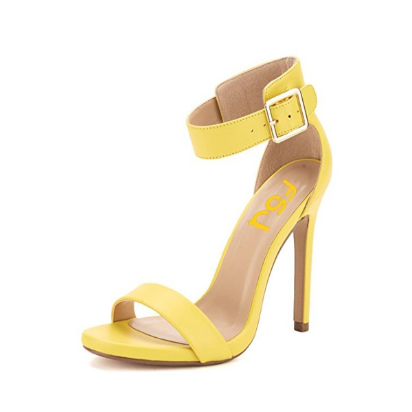 Yellow Ankle Strap Sandals Open Toe Women's Stiletto Heels  image 1