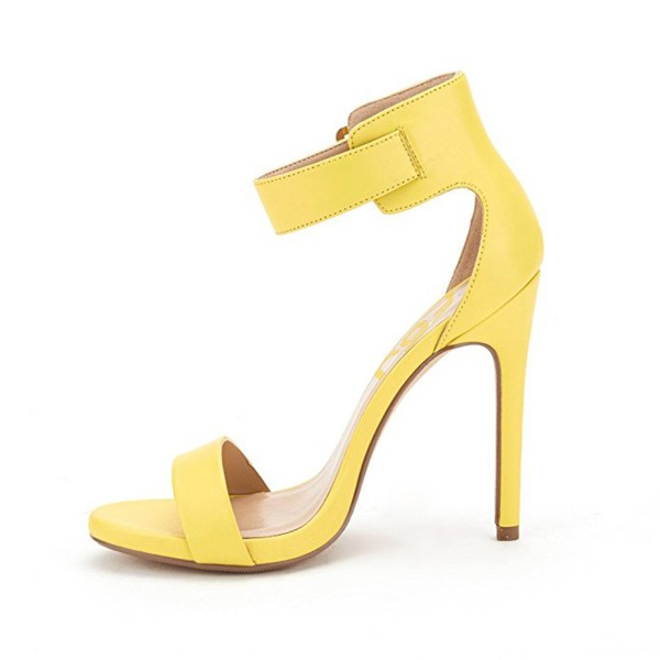 On Sale Yellow Open Toe Ankle Strap Sandals Stiletto Heels Sandals  image 3