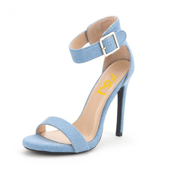 Women's Blue Suede Stiletto Commuting Heel  Ankle Strap Sandals image 1