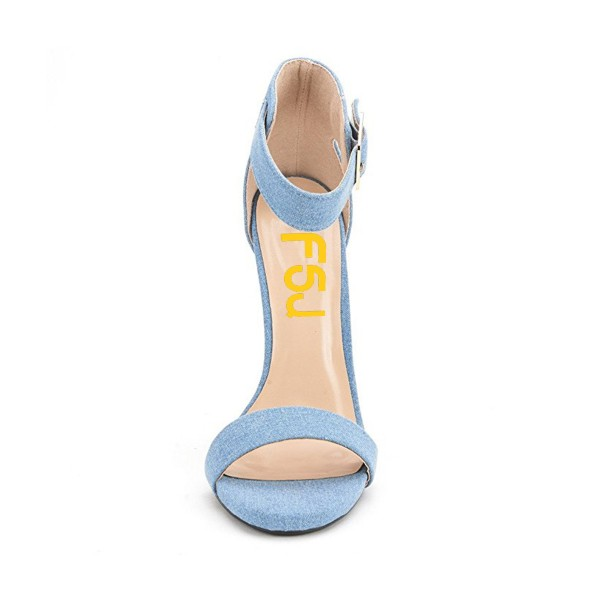 Women's Blue Suede Stiletto Commuting Heel  Ankle Strap Sandals image 2