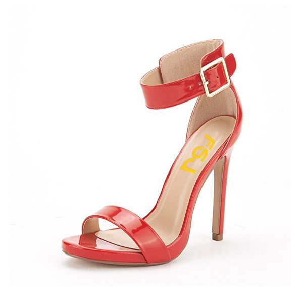 Red Ankle Strap Sandals Patent Leather Open Toe Stiletto Heels image 1