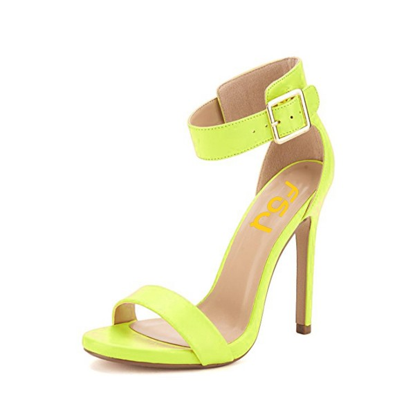 Women's Yellow Leather Stiletto Heels Ankle Strap Sandals image 1