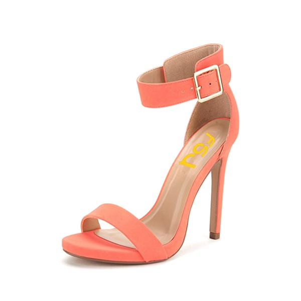 Salmon Ankle Strap Sandals Open Toe Stiletto Heels image 1