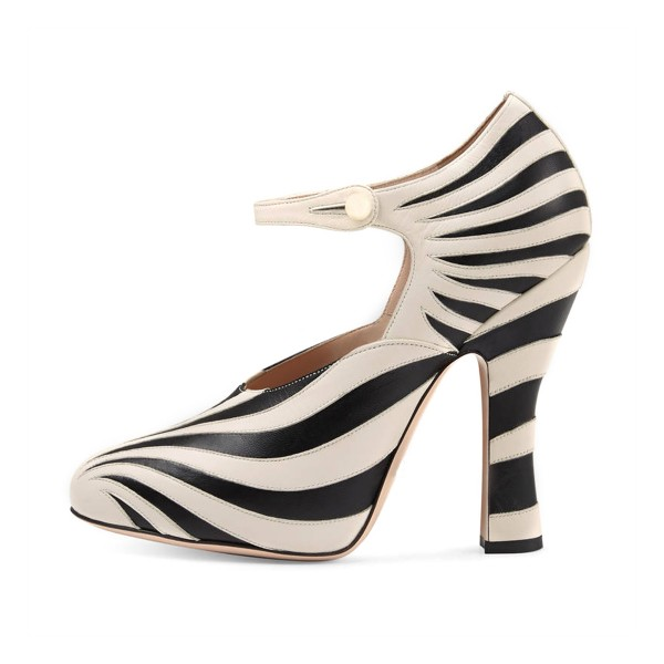 Women's Black and White Stripes Vintage  Mary Jane Shoes image 3