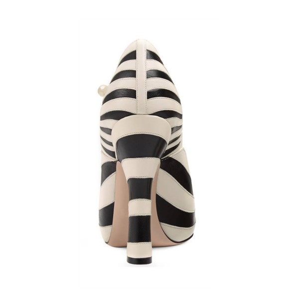 Women's Black and White Stripes Vintage  Mary Jane Shoes image 2