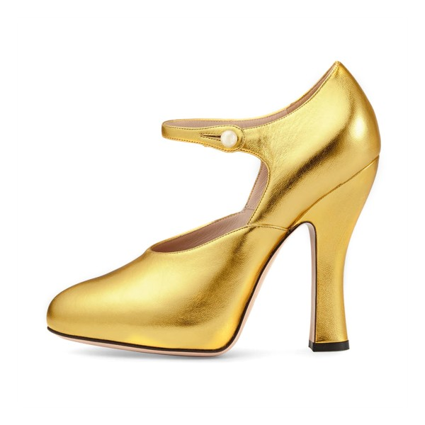 Women's Golden Leather Mary Jane Vintage Heels image 2