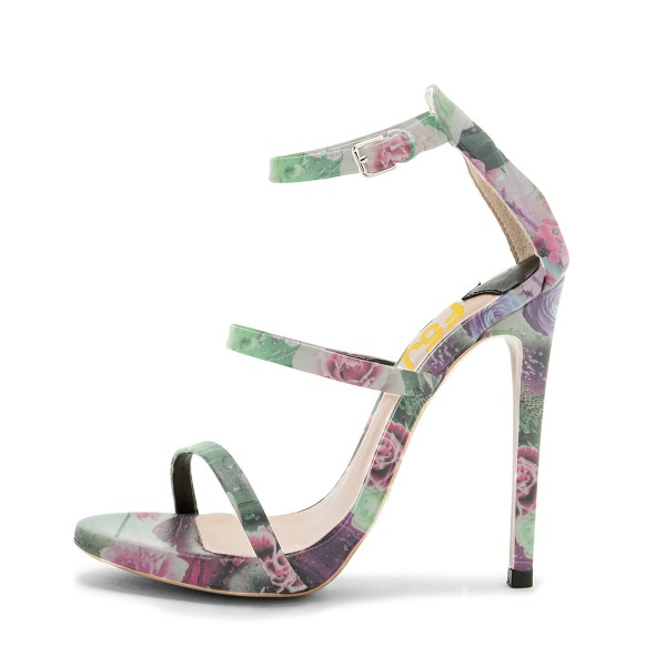 Floral Heels Open Toe 5 Inch Stiletto Heels Sandals for Women image 2
