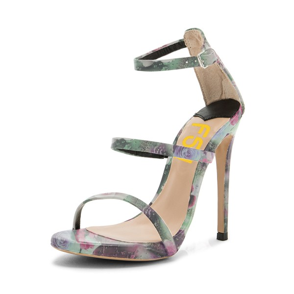 Floral Heels Open Toe 5 Inch Stiletto Heels Sandals for Women image 1