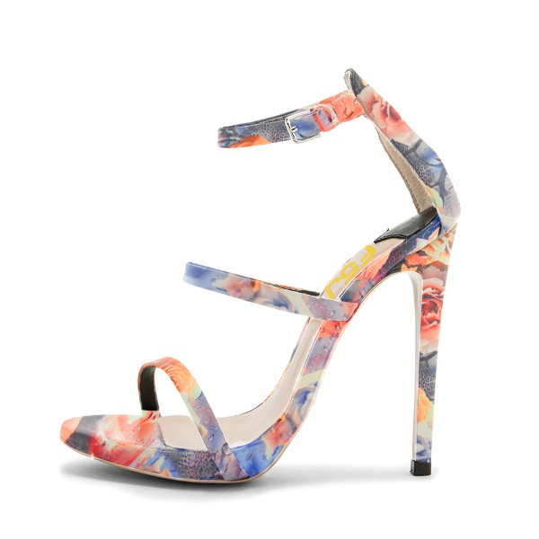 Floral Heels Ankle Strap Open Toe Sandals Stiletto Heels image 3