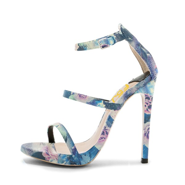 Blue Floral Heels Open Toe Ankle Strap Sandals image 2