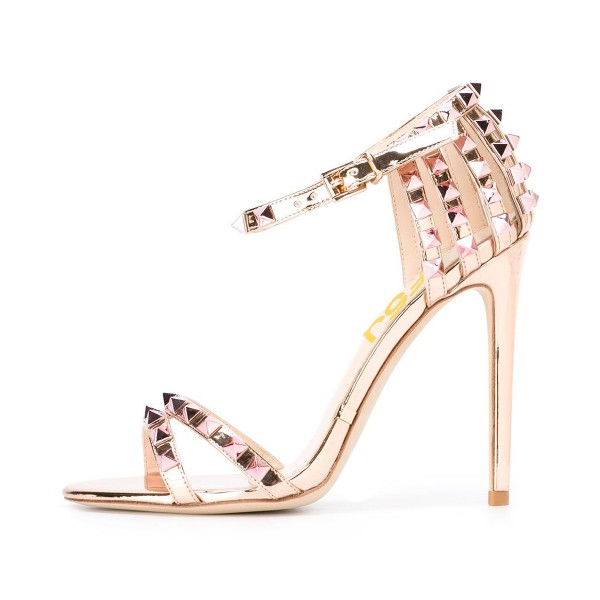 Champagne Studs Shoes Mirror Leather Ankle Strap Stiletto Heel Sandals image 1