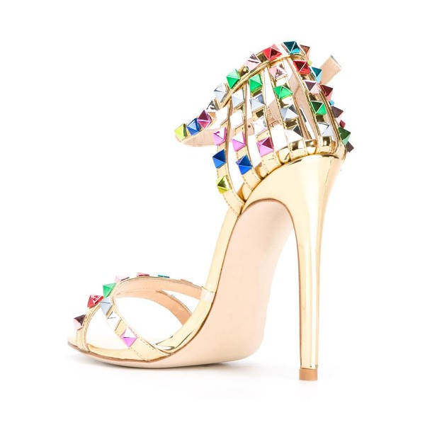 Gold Studs Shoes Ankle Strap Stiletto Heel Mirror Leather Sandals image 2