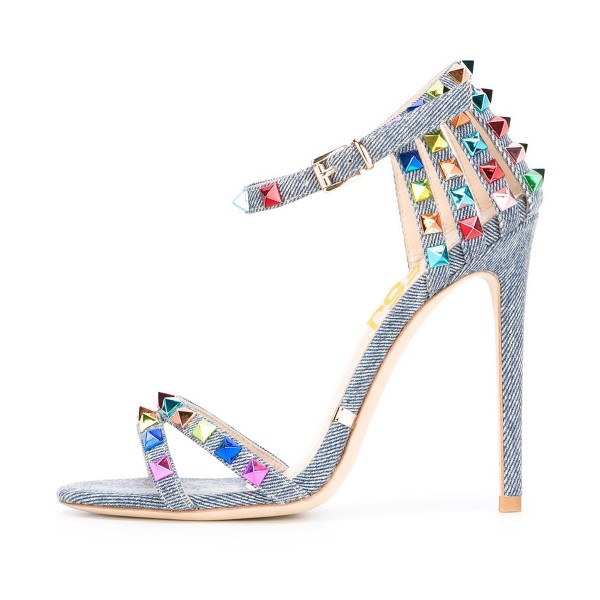 Denim Studs Shoes Stiletto Heel Ankle Strap Jean Heels  image 1