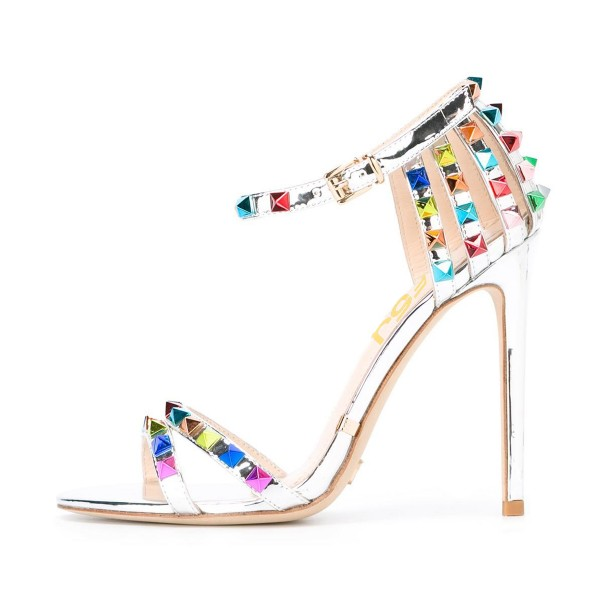Silver Studs Shoes Ankle Strap Mirror Leather Stiletto Heel Sandals image 1