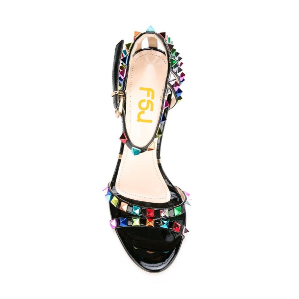 Women's Black Colorful Rivets Stiletto Heel Ankle Strap Sandals image 2