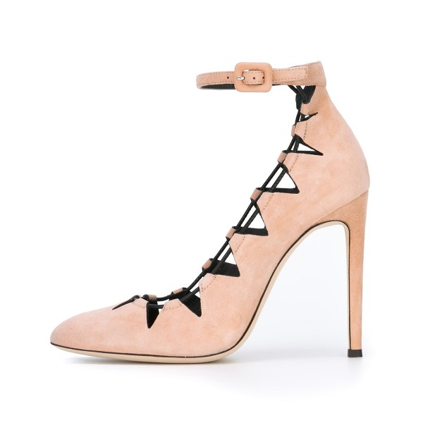 Women's Nude Suede Hollow-Out Stiletto Ankle Strap Heels Pumps Shoes image 3