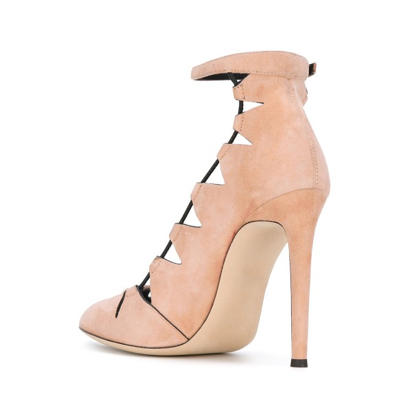 Women's Nude Suede Hollow-Out Stiletto Ankle Strap Heels Pumps Shoes image 2