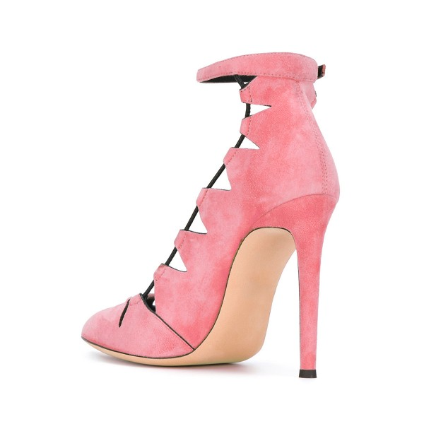 Women's Pink Suede Hollow-Out Ankle Strap Stiletto Heels Shoes image 3