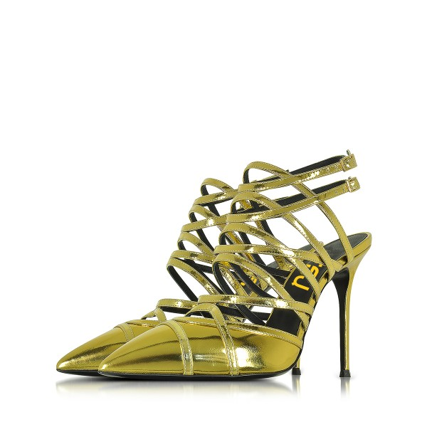Green Slingback Heels Strappy Sandals Closed Toe Stiletto Heels image 1