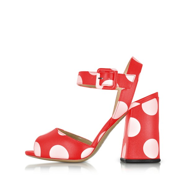 Polka Dots Block Heel Sandals Red Peep Toe Chunky Heels image 2