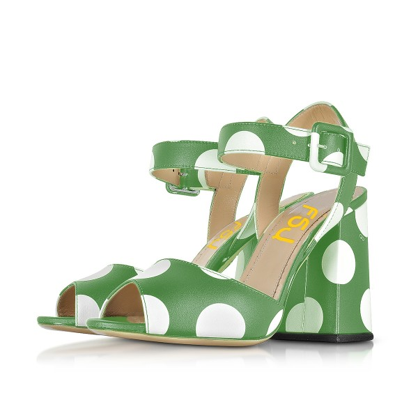 Green and White Block Heel Sandals Polka Dots Peep Toe Heels image 1